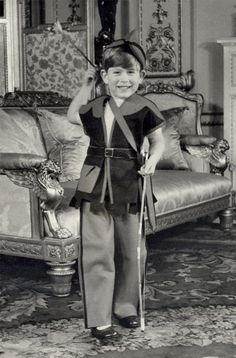 Prince Charles, on his fifth birthday, celebrates by dressing up as Robin Hood