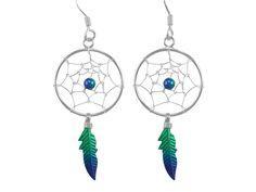 Sterling Silver 35x18mm Green & Blue Anodised Single Feather Dream Catcher Drop Earrings