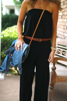 I have been searching for this jumpsuit ever since I saw this pin! belted jumpsuit, jean jacket