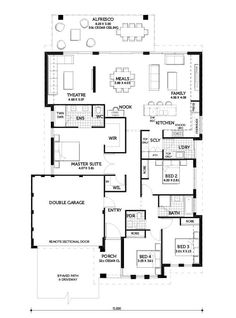 Smart Homes Obsession 220 Home Design Floor Plans, House Floor Plans, 4 Bedroom House Plans, Bungalow House Design, House Blueprints, Display Homes, Small House Plans, House Layouts, Smart Home