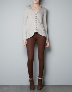 SWEATER WITH JEWELLED NECKLINE - Woman - New this week - ZARA United States