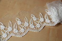Width 10 cm ivory lace trim,flowers embroidered lace,Cotton floral lace trim,scalloped trim lace for DIY dress  (1-105)