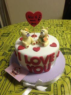 Minitorta de osos enamorados para un aniversario #6meses  #iloveyou #miskitrujillo