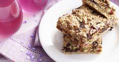 Fruity choc chip slice Jam Recipes, Brownie Recipes, Apricot Dessert, Choc Muffins, Sugar Free Brownies, Strawberry Jam Recipe, Custard Desserts, Muesli Bars, Food Gallery