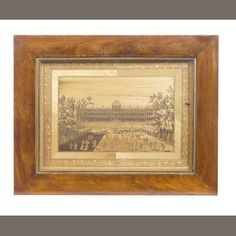 An early 19th century Prisoner of War straw work picture depicting The Louvre