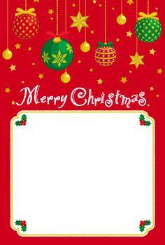 フリーイラスト オーナメントボールのクリスマスカード