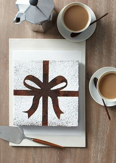 Gotta LOVE Martha!!! Such a great idea....brownie with a bow stencil then apply powdered sugar.....SO CUTE!