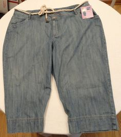 NEW NWT Lee Riders jean capri with rope belt size 26W M Med wash 151-102N Prince #RidersbyLee #CapriCropped