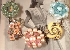 THese pastels are so perfect! Vintage Pastel Pearls and Crystal Floral Cluster Earring Bracelet. (Custom piece) $39.99