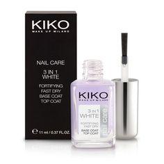 3 in 1 White - 3 IN 1 WHITE Esmalte 3 en 1 - base, endurecedor y top coat efecto blanqueador - KIKO