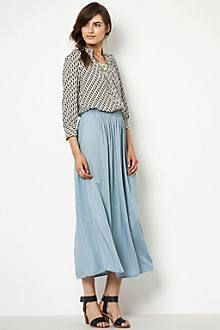 patterned top, midi skirt, chunky heel sandal