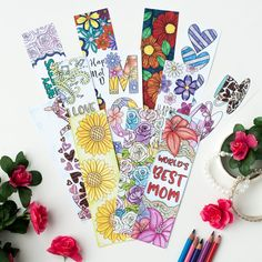 Color and make these Mother's Day bookmarks for a special mom! Includes 12 printable bookmarks to color in | Find more Mother's Day printables and coloring pages at https://sarahrenaeclark.com/shop/cat/seasonal/mothers-day/ #coloringpage #mothersdaycraft #printables