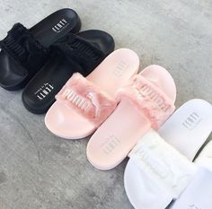 """PUMA"" Rihanna Fenty Leadcat Fur Slipper shoes from Love Shoe Boots, Shoes Sandals, Shoes Sneakers, Girls Tumblrs, Cute Slides, Pink Slides, Dream Shoes, Shoe Closet, Swagg"