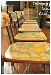 What a fun idea for transforming old wooden desk chairs. -- Decoupage Map Chairs: My Altered State.