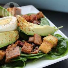 A lovely salad for weekend brunch or lunch. Spinach, avocado, hard-boiled eggs, bacon and croutons - delish!