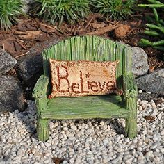 Rainbow Bench with Believe Pillow. www.teeliesfairygarden.com . . . This beautiful rainbow bench and believe pillow will look great in any fairy garden and will let your fairies know that you believe in them. #fairychair