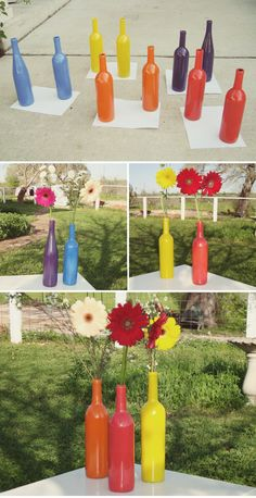 Colorful centerpieces using wine bottles.