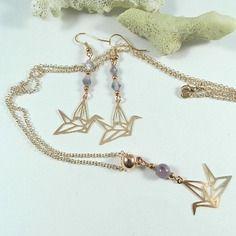 Parure or rose oiseau origami - collier or rose violet - création de bijoux par breloques de sophie