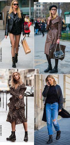 Street style look com bota coturno sem salto.