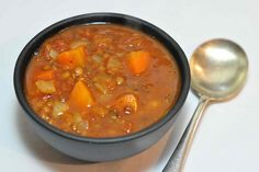 spicy carrot, tomato and lentil soup-- I LOVE the combo of lentils and carrots! so comforting.