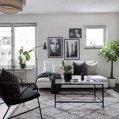 Monochrome living room in 2019 Scandi Living Room, Living Room Grey, Living Room Interior, Home Decor Bedroom, Home And Living, Living Room Decor, Monochromatic Living Room, Monochrome Interior, Small Apartment Interior