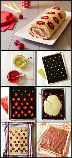 Gâteau roulé aux framboises décor fleurs