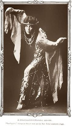 """American vaudeville dancer and contorsionist """"La Sylphe"""" as Salome, 1908. La Sylphe's popularity in the United States increased after Salome by Richard Strauss was banned by the Metropolitan Opera in 1907"""