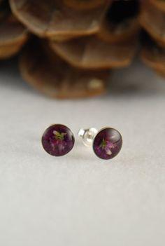 Purple violet earrings sterling silver stud by BalanceAtelier, $18.00
