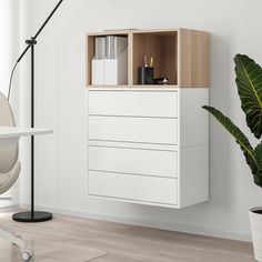 EKET Wall-mounted cabinet combination - white, white stained oak effect - IKEA Ikea Eket, Ikea Wall, Wall Storage, Tall Cabinet Storage, Wall Mounted Shoe Storage, Plastic Foil, Painted Drawers, Ikea Cabinets, White Stain