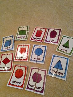 Kindergarten shapes, great printable worksheets and math centers! (aligned with common core geometry standards) Ideas for centers and station work!