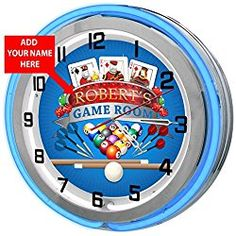"""Game Room Personalized 18"""" Blue Double Neon Clock from Redeye Laserworks"""