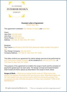 How To Write An Interior Design Letter Of Agreement