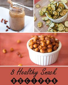 8 Healthy Snacks (Recipe Roundup)        Salt and Pepper Zucchini Chips      Homemade Almond Butter      Crunchy Roasted Chickpeas      Gluten Free Blueberry Muffins      Homemade Almond Milk      Healthy Chocolate Raspberry Parfaits      DIY Microwave Popcorn      Zucchini Applesauce
