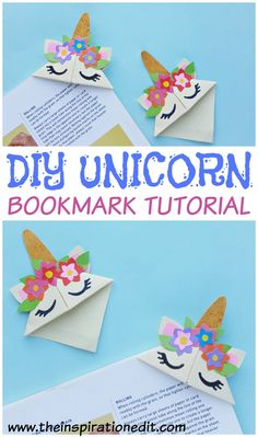 A simple DIY unicorn bookmark to make with the kids on a wet day. Check out the instructions now! crafts for kids Easy DIY Unicorn Bookmark Craft For Kids · The Inspiration Edit Bookmark Craft, Diy Bookmarks, How To Make Bookmarks, Bookmarks For Kids, Corner Bookmarks, Bookmark Ideas, Origami Bookmark, Crafts For Kids To Make, Easy Diy Crafts