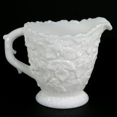 3  Creamer in the Bramble - Milk Glass glassware pattern by Westmoreland. It measures 3 1/2  tall and is in excellent to mint condition overall, no ch