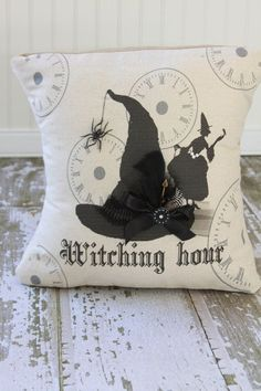 2014 Halloween pillow witching hour - witch hat, feather, bow, spider #Halloween