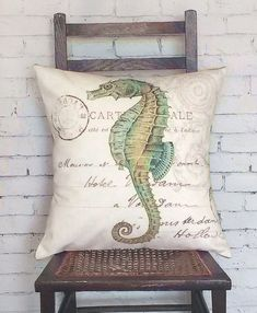 Pillow Cover Green Seahorse Beach Decor by JolieMarche on Etsy