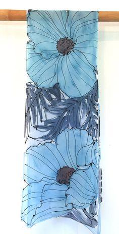 Blue Silk Scarf Handpainted Blue Spring Scarf Reversible