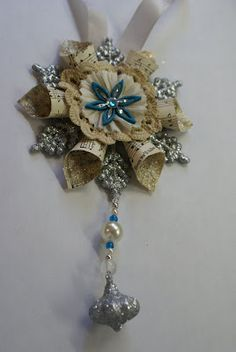 How to Make Vintage Looking Christmas Ornaments - this was made using a plastic snowflake as a base, vintage bookpages and beads - via Quill Cottage: Christmas Ornament Tutorials...