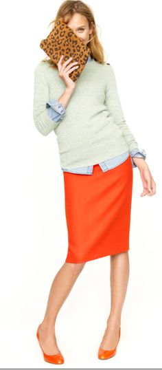 flame skirt, mint crewneck, chambray and cheetah flats