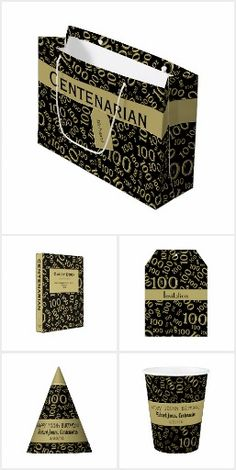 Centenarian 100th Year Birthday Party Black and Gold Theme