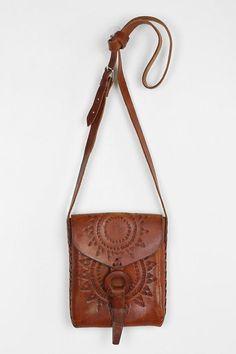 Hiptipico Half Moon Tooled Leather Crossbody Bag