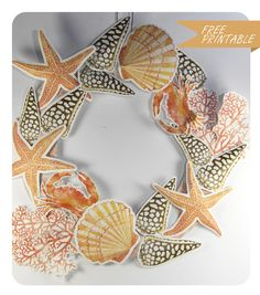 free printable shell and coral wreath 3