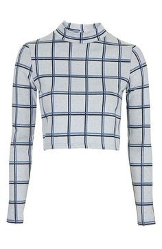 $50.00  Topshop Windowpane Crop Top | Nordstrom