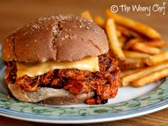 Two-Ingredient Slow Cooker BBQ Chicken: Even a 6-year-old can make it! | The Weary Chef #Manwich #recipe