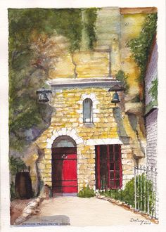 One of many houses in Chinon, in the Loire Valley of France, built into chalk cliffs near the famous chateau overlooking the town and the river.   Ink and watercolour painting by Dai Wynn on 300 gsm Arches french cotton paper. 30 cm high X 21 cm wide (11.75 inches X 8.25 inches) approximately. Available for sale at $150.