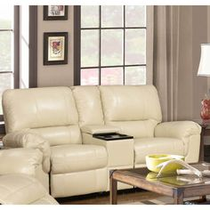 LYKE Home Ramos Cream Reclining Loveseat