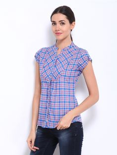 Lee Cooper Women Blue & Red Checked Shirt