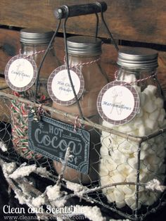 Candy Cane Hot Cocoa Bar - cute gift idea @CleanScents