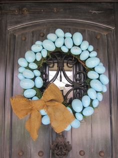 Robin's Egg Blue Easter Wreath - so lovely and easy to make!
